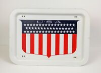 Vintage Colorful USA Art Metal Folding TV Lap Snack Bed Tray Fold Up Legs USA!!!