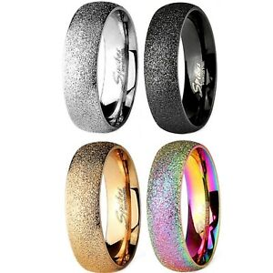 SAND BLAST FINISH WEDDING RING BAND 6MM WIDTH (316L STAINLESS STEEL) Size 5-13