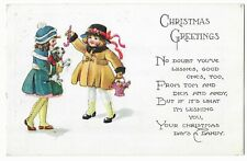 """Vintage Postcard """"Christmas Greetings"""" 2 girls with puppy and Candy Canes"""