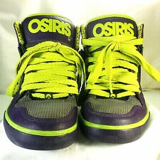 Mens or Boys Osiris Purple And Chartreuse High Top Skateboard Sneakers Size 5