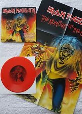 """IRON MAIDEN THE NUMBER OF THE BEAST UK 7"""" RED VINYL & CALENDAR POSTER NM 2005"""