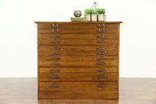 Oak 11 Drawer 1900 Antique Map Chest, Drawing File or Collector Cabinet