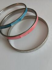 """Vintage bangles, 1 silver toned etched, 1 Pink + 1 Blue  Mother of Pearl 3"""""""