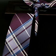 NEW Blue Purple White Black Plaid Designer 100% Silk Jacquard Woven Tie