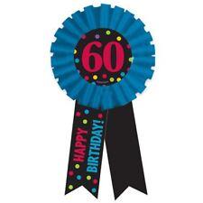 Happy 60th Birthday Rosette Ribbon Award Age Badge Pin Party Celebration