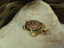 Vintage Gold Tone Red Green Blue Crown Trifari Signed TURTLE Pin Brooch