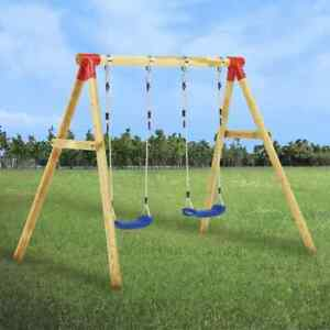 vidaXL Swing Set Pinewood Double Outdoor Garden Playground Kids Equipment