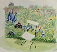 Barbara Wiese (20/21) schickes Aquarell 1995: BEI HELGA SEIFERT im Garten