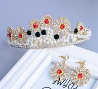 Women Gold Rhinestone Crystal Pearl Sun Party Hair Headband Crown Tiara Earrings