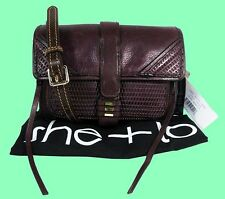 SHE+ LO Living Camera Bordeaux Leather Cross-Body Bag. Msrp $198