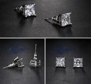 2.5ct Princess Cut Forever Moissanite Push Back Stud Earring 14K White Gold Over