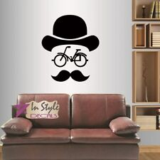 f574eef2 Vinyl Decal Hipster Mustache Bicycle Hat Man Removable Wall Sticker 534
