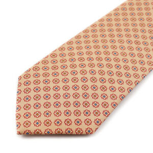 New $235 E.MARINELLA NAPOLI Tan and Red Floral Medallion Silk Tie