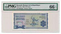 BURUNDI banknote 20 Francs 1968 PMG MS 66 Gem Uncirculated grade