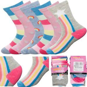 Girls Best Gift Socks Children Kids Multicoloured Design Novelty 3,6,12 Pairs
