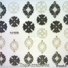 3D Antique Silver Pattern Design Nail Art Decals Stickers #07030S-F Free P&P