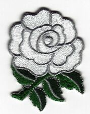 Iron On/ Sew On Embroidered Patch Badge Rose Flower White Roses Bud White