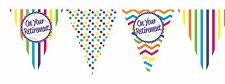 ON YOUR RETIREMENT CHEVRON TRIANGLE BUNTING DECORATION - 11 x FLAGS 12FT LONG