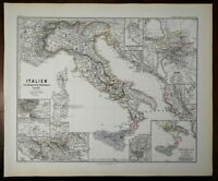 Medieval Italy Norman Sicily Papal States Byzantium Spruner 1877 historical map