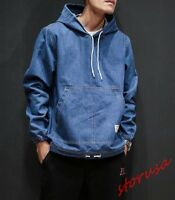 Fashion Mens Denim Hoodies Pullover Coats Casual Loose Jean Loose Jacket Outwear