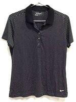 Nike Golf Womens Tour Performance Dri-Fit Key Stripe Golf Shirt Black Size L