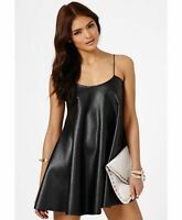 WOMEN LADIES  LEATHER LOOK PVC CAMISOLE STRAP MINI SWING DRESS SIZE 8-26