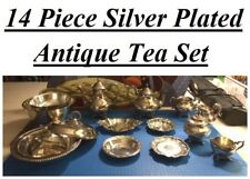 14 Piece Silver Plated Antique Tea Set - Perfect for Alice in Wonderland Party