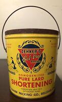 Zehner's Bel-Vue Brand 4 Pound Lard Shortening Tin/Can - Bellevue, OH (no lid)