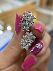 3.12 Carat TW Diamond Cluster Earrings in 14K White Gold DIA:G S1