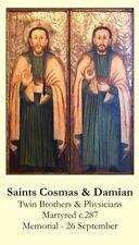 Saints Cosmas - Damian Prayer CARD (wallet size)