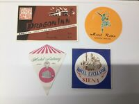 Lot of 4 Vintage Hotel Luggage Suitcase Travel Stickers
