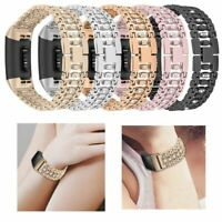 For Fitbit Charge3 Smart Watch Rhinestone Stainless Steel Watch Band Wrist Strap