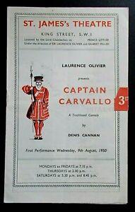 Captain Carvallo programme St James's Theatre 1950 Peter Finch Diana Wynyard