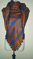 Rust Blue Arab Unisex Shemagh Head Scarf Neck Wrap Authentic Cottton Middle East