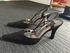 GORGEOUS SATIN BLACK HEELS-WORN ONCE-Size 38 (7)