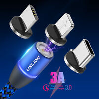 3in1 3A Magnetic LED Fast Charging Cable Micro USB Type C Charger Data Sync Cord