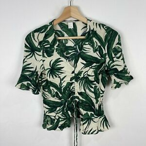H&M Womens Top Size 6 White Green Leaves Short Sleeve Shirt Cropped 221.03