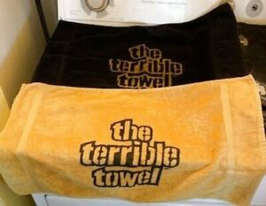 2 Rare Pittsburgh Steeler Terrible Towels 1970s St. Mary's Black & Gold EUC