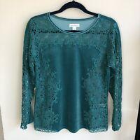 Sundance Women's Size S Small Green Velvet Floral Cutout Long Sleeve Blouse