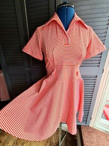 Vintage 1970's Dress, Red & White Stripes, Size 10