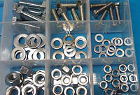 M6 M8 M10 Assorted Fasteners Pack 105pc - mixed kit of bolts, nuts & washers