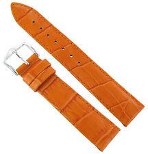 18mm Hirsch Duke Alligator Grain Matte Orange Genuine Leather Watch Band