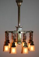 Monumental 8 Arm Arts & Crafts Commercial Building Chandelier Aged Brass Patina