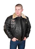 Mens PILOT leather jacket Spitfire brown aviator bomber top gun AIR FORCE Coat