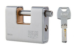 NEW IFAM A90-KD-S CEN 4 RATED ARMOURED 90 PADLOCK WITH DIMPLE SECURITY KEY.