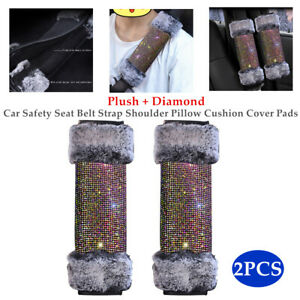 2PCS Car Seat Belt Shoulder Pad Cover Cushion Bling Shiny Diamond Safety Kit