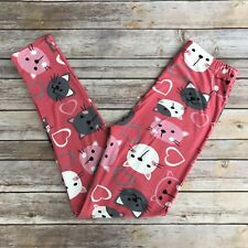 Pink Cat and Mouse Hearts Women's Leggings PS Plus Size 12-20 Super Soft