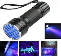 21 LEDs UV Ultra Violet Flashlight 395nm Mini Black Aluminum Torch Light Lamp