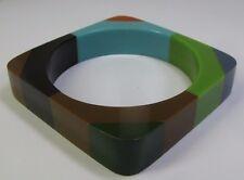 Vintage Color-Block Square Lucite Bangle Bracelet - Green Blue Brown Black