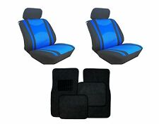 Mesh Blue & Black Seat Covers with Black Carpet floor Mats for Cars SUVS- Combo